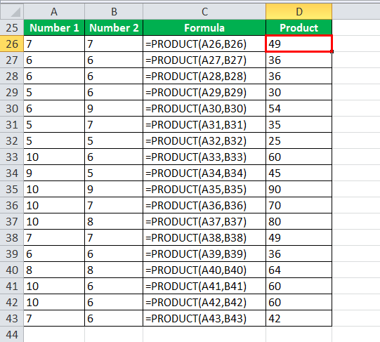 Using PRODUCT Function Example 3-2
