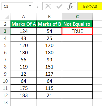 Not Equal to Excel Method 1-1