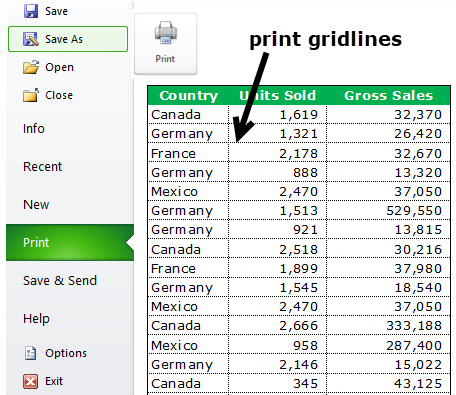 Print Gridlines using Page Setup step 6