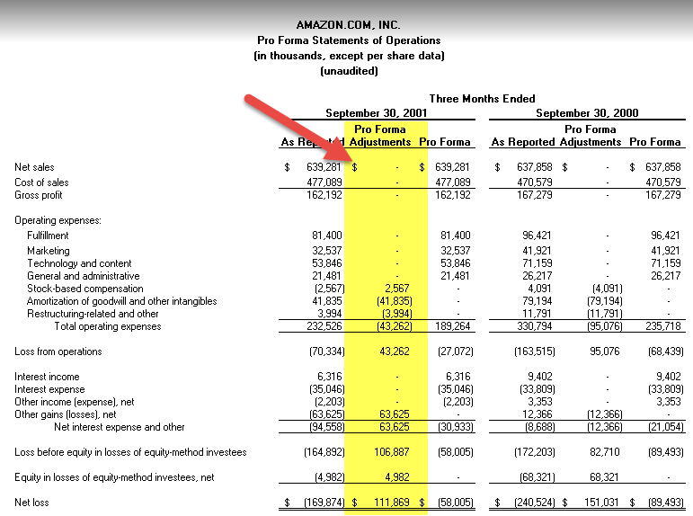 Pro forma Financial Statements Adjustments