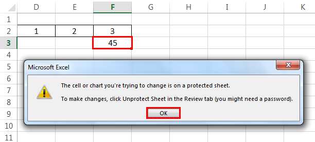 Protect sheet Example 4-1