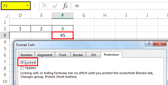 Protect sheet Example 4