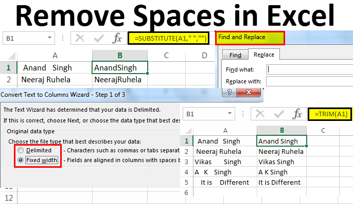 Remove Space in Excel (Text, Number) | 5 Methods to Remove Space