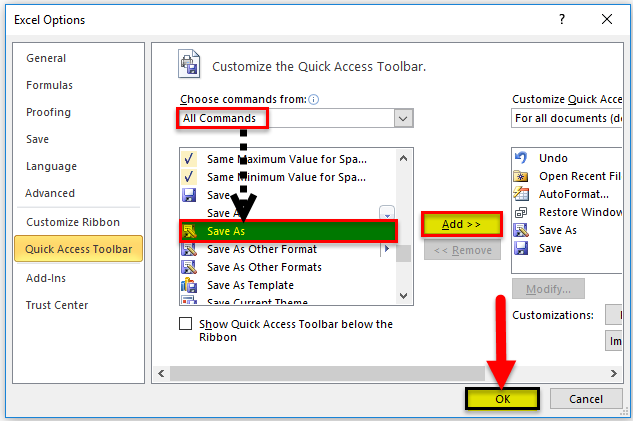 Save as quick access method 2-2