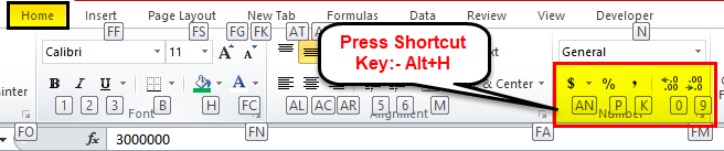 Shortcut Keys use Accounting Format 2