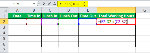 Time sheet in Excel example 1-1
