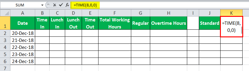 TimeSheet in Excel example 1
