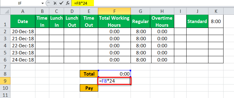 TimeSheet in Excel example 14
