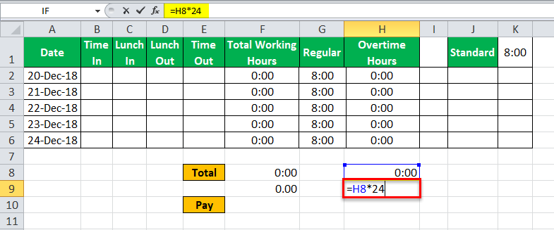 TimeSheet in Excel example 15