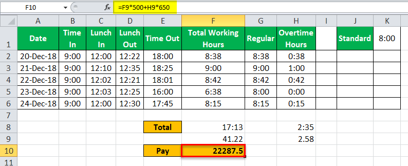 TimeSheet in Excel example 18