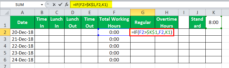 TimeSheet in Excel example 6