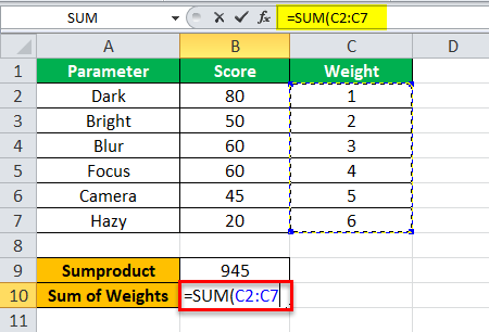 Weighted Average step 3