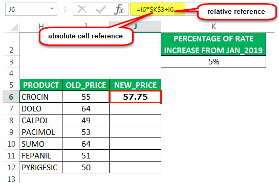 cell reference in excel example 2
