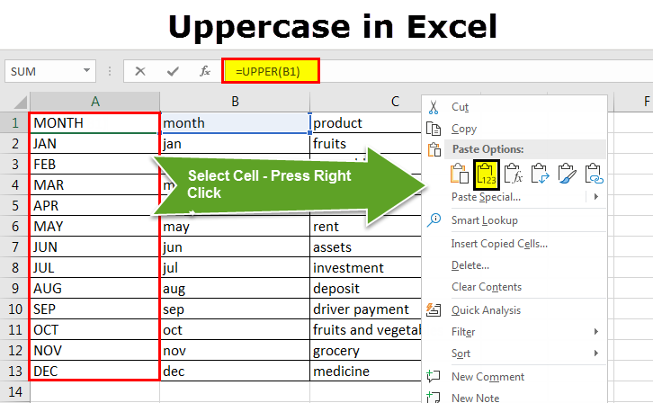 uppercase in excel