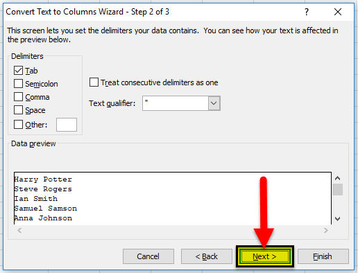 using Delimited option step 1-1