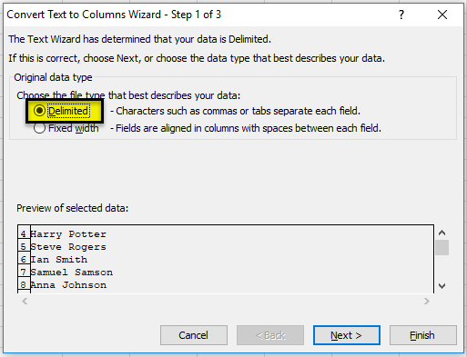 using Delimited option step 1