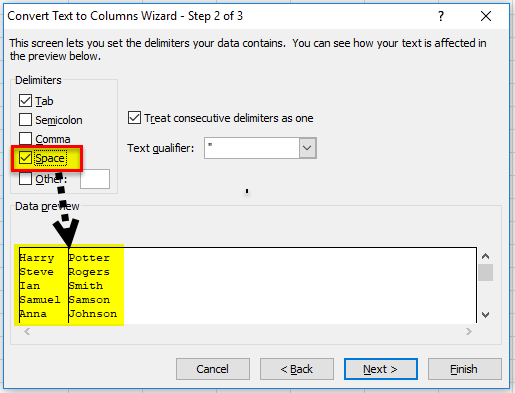 using Delimited option step 1-2