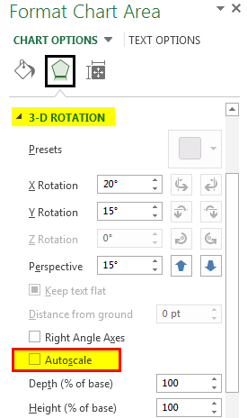 format chart area 3D Rotation