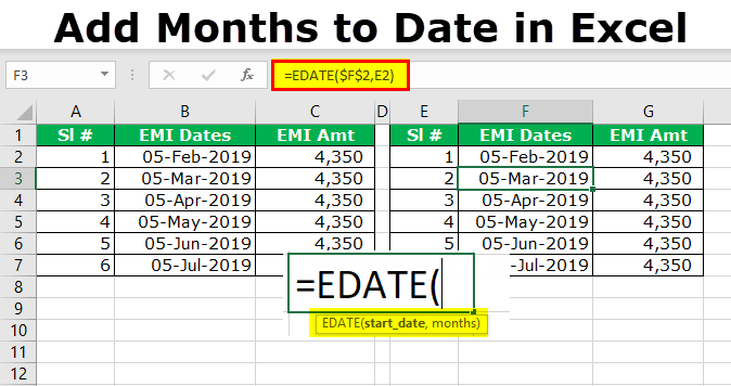 Add Months to Date in Excel
