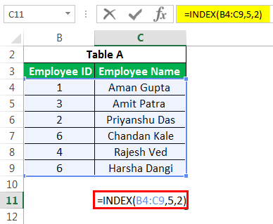 Advanced INDEX Example 2-2