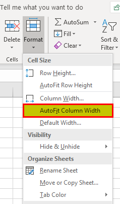 Autofit Height of rows and Columns Excel