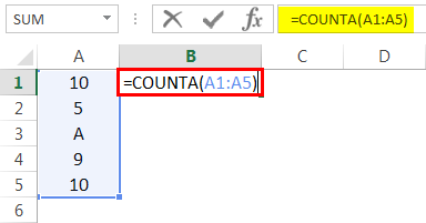 Basic COUNTA Example 3