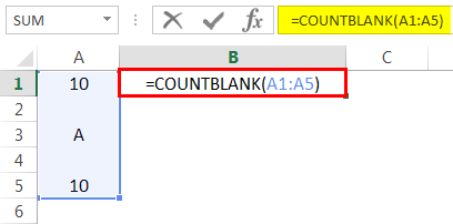 Basic COUNTBLANK Example 4