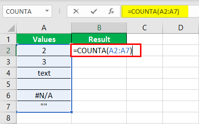 COUNTA Function Example 1