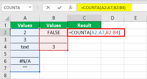 COUNTA Function Example 2