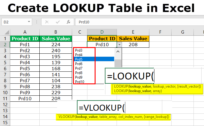 Create LOOKUP Table in Excel