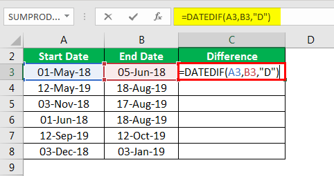 DATEDIF in excel example 1.2