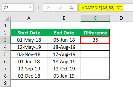DATEDIF in excel example 1.3