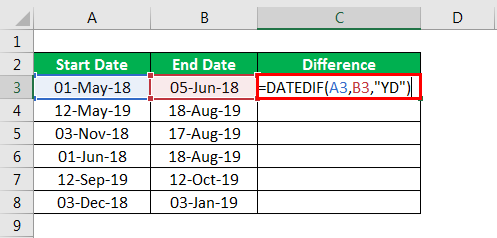 DATEDIF in excel example 2.2