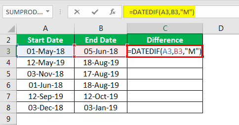 DATEDIF in excel example 3.2