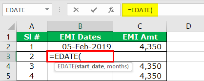 Add Months to Date in Excel Step 2