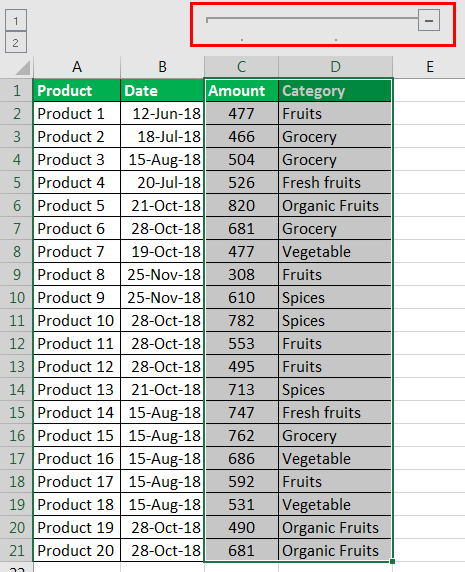 Excel Column Grouping example 1.3