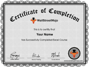 Excel Course certificate