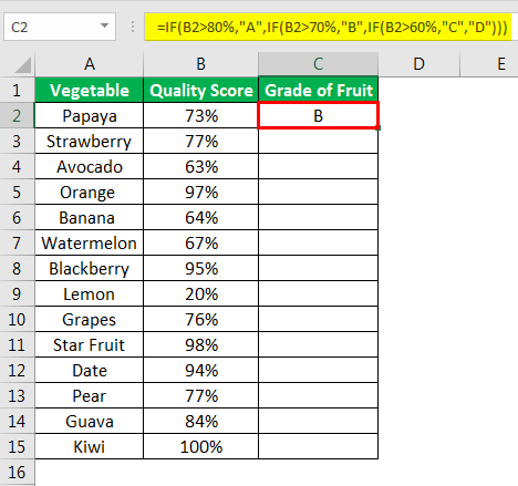 Excel Formula for Grade example 2.1