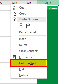 Increasing the Width of the Column