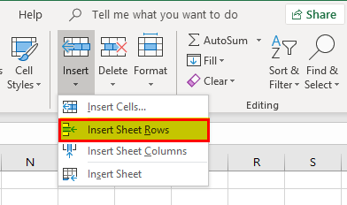 Inserting a Row