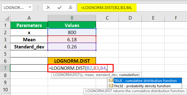 LOGNORM.DIST Function Step 2