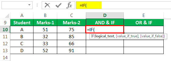 logical Test in excel Example 3-1
