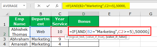 Excel Nested IF Function Example 3-4