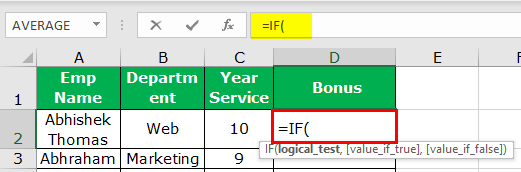 Excel Nested IF Function Example 3-1