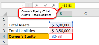 Owner's Equity formula example 1.2