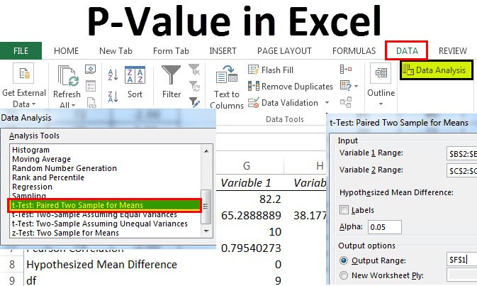 P Value in Excel
