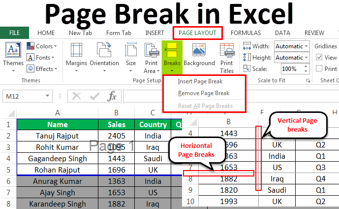 Page Break in Excel