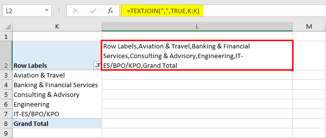 Pivot table Filter example 5.2