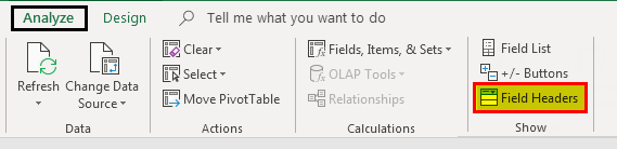 Pivot table Filter example 5.3
