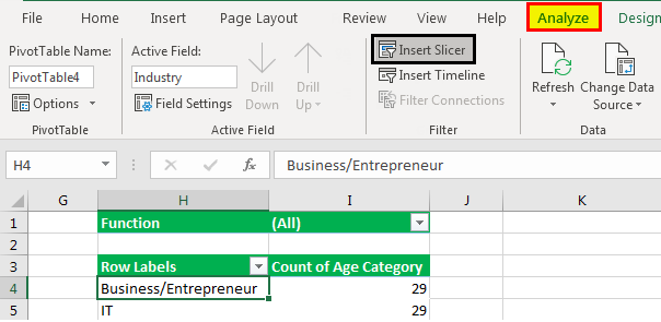 Pivot table Filter example 3.3